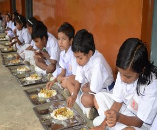 Students being provided nutritious mid-day meal through Akshaypatra project