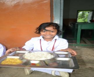 Students being provided nutritious mid-day meal through Akshaypatra- projec